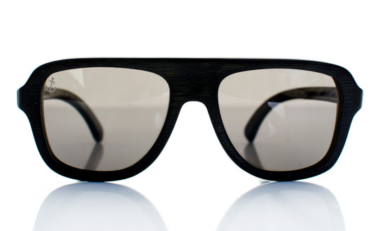 AeroStellar Handcrafted Wooden Eyewear Black Bamboo Wood - Front View